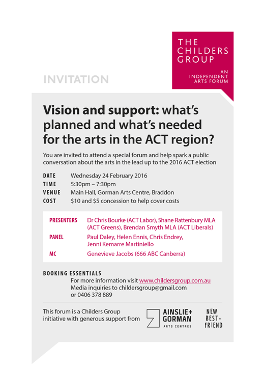 CHILDERS GROUP - ACT election arts forum - invitation - WP